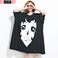 DIMANAF Women Summer T Shirt Plus Size Cartoon Print Cotton Female Casual Lady Trend Large Size