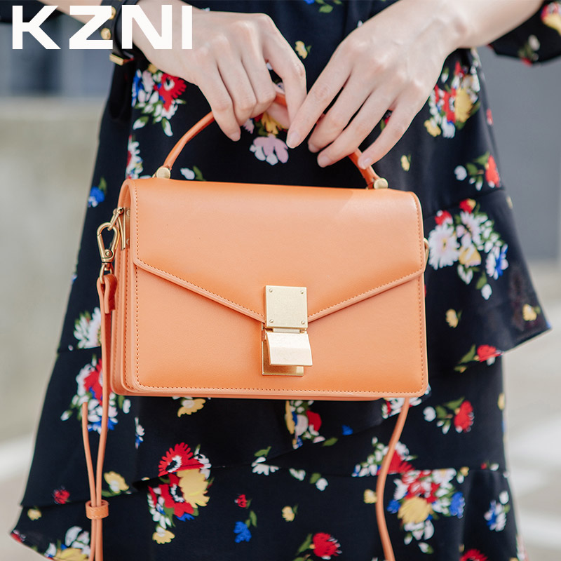 KZNI Genuine Leather Shoulder Bags Female Purses and Handbags Fashion Handbags 2017 Crossbody Bags for Women Sac a Main 9008