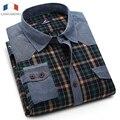 Langmeng 2016 мужчины плед повседневная рубашка осень носить длинные рукава рубашки платья мужской формальные джинсы проверено рубашки марка большой размер