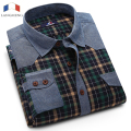 Langmeng 2016  men plaid casual shirt autumn wear long sleeve dress shirts male formal jeans checked brand shirts big size