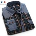 Langmeng 2016  men plaid casual shirt autumn wear long sleeve dress shirts male formal jeans checked brand shirts big size
