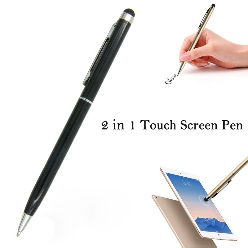 10pcs Universal 2 in 1 Capacitive Touch Screen Pen With Ball Point Pen Stylus Tablets Touch Pen For Iphone For Samsung Dec13