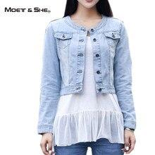 Fashion Korean Slim Spring / Fall Women Clothing Jean Coat O Neck Single Breasted Denim Cowboy Outwear Short Jacket C68240H