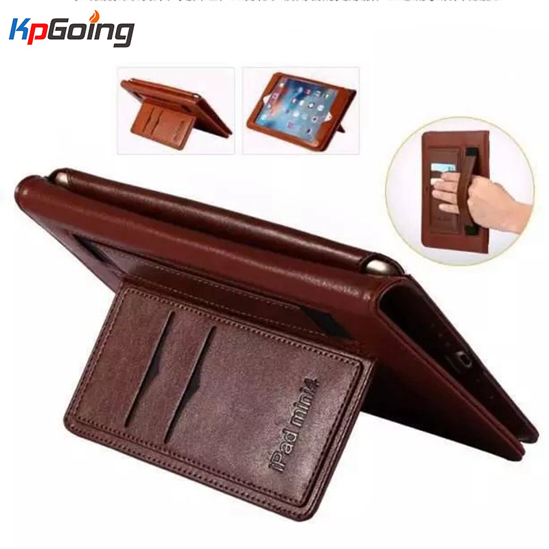 Luxury Genuine Leather Business Cover for Ipad 2 3 4 Flip Stand Case Smart Handhold Case for Apple Ipad 3 4 Fundas W/ Logo
