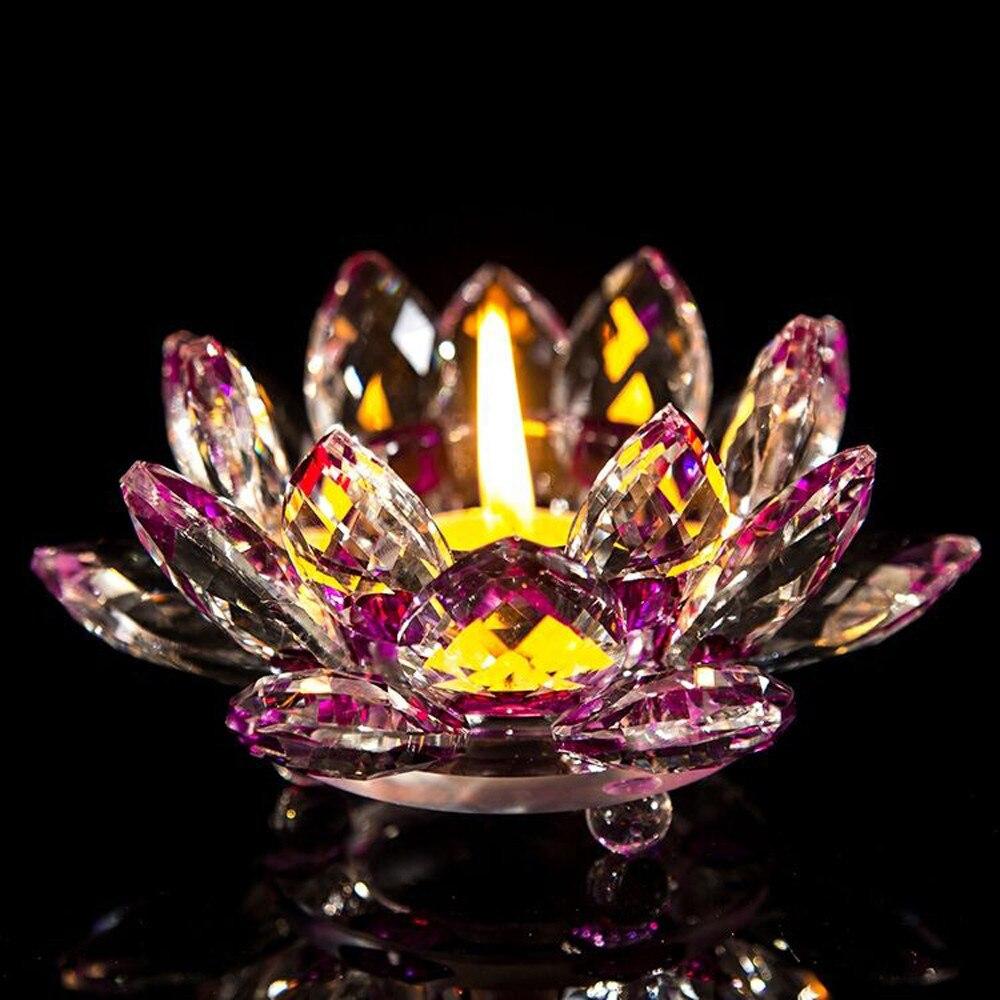 DIVV Candle Holder Crystal Glass Lotus Flower Tea Light Buddhist Candlestick desk decoration u71221
