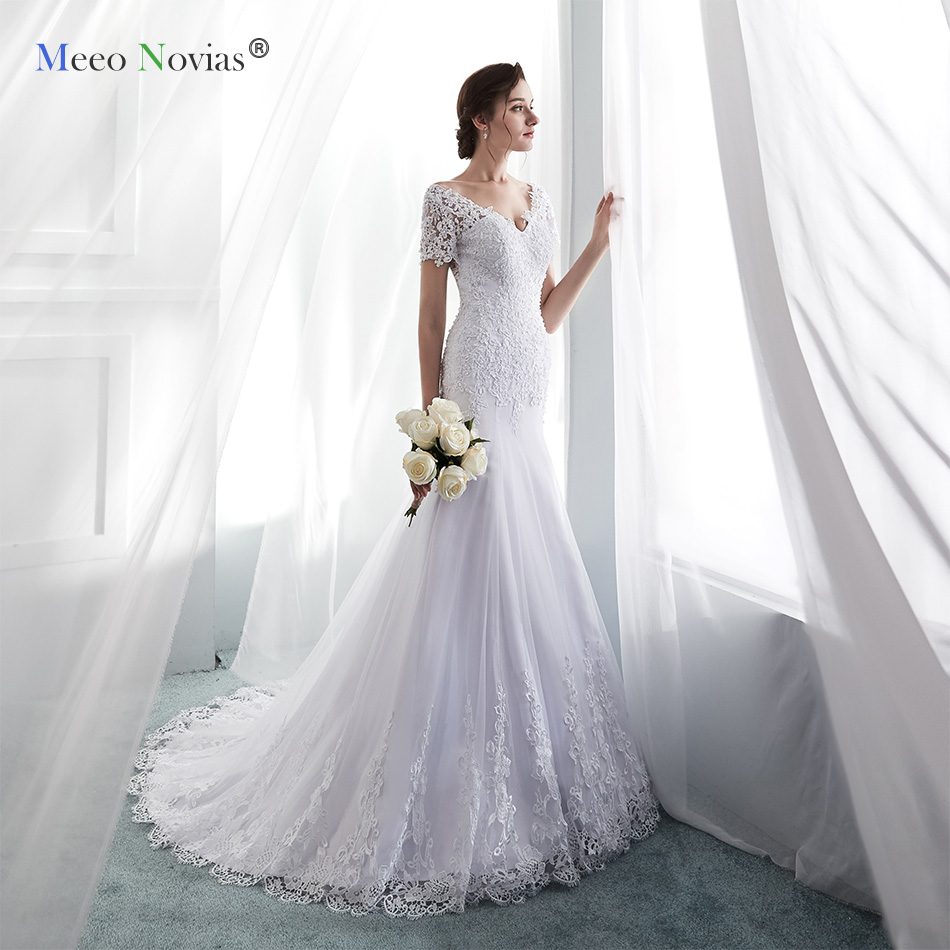 MN819004 Sexy Lace Mermaid Wedding Dresses V Neck Short Sleeves Wedding Bridal Gowns Tulle Backless Bride