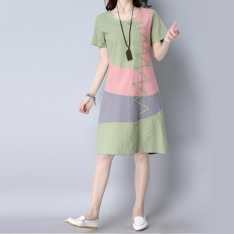 Summer Dress Women Beach Dress Short sleeve O neck Patchwork A-Line casual Cotton Linen dress vestidos Plus size lady Clothing