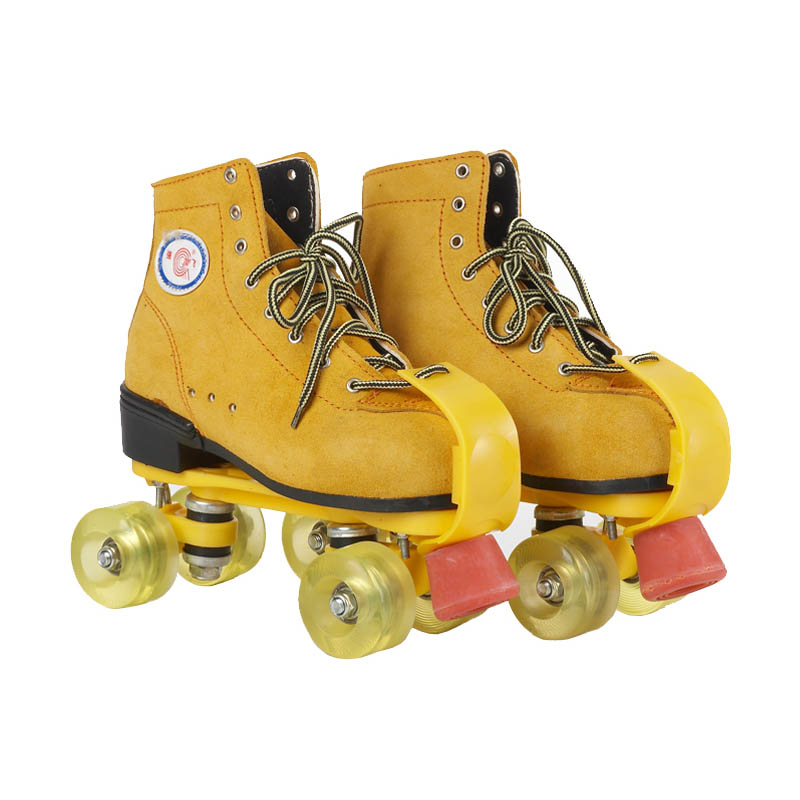 Roller Skates Yellow Genuine Leather With Led Lighting Wheels Double Line Skates Adult 4 Wheels Two line Roller Skating Shoes reniaever double roller skates skating shoe gift girls black wheels roller shoe figure skates white free shipping