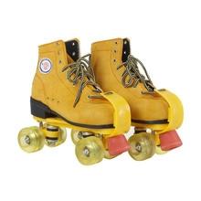 Ruedas de Patines de Cuero Genuino Amarillo Con Iluminación Led Doble Línea Patines Adultos Zapatos de Patinaje sobre ruedas 4 Ruedas de Dos líneas