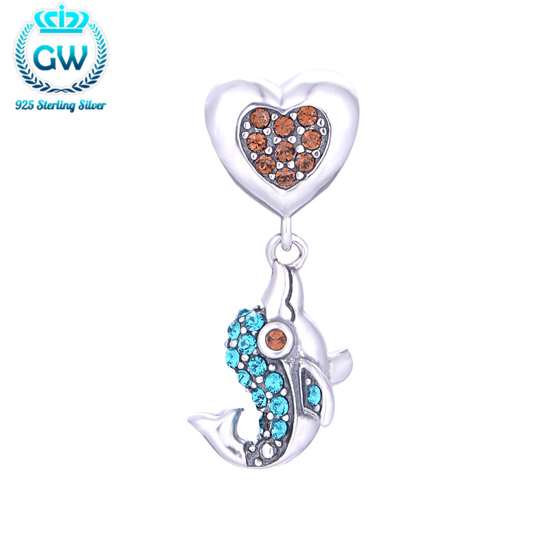 925 Sterling Silver Sky Blue Rhinestone Dophin Charms With Heart Pendant Necklace Bracelets For Women Silver Jewelry S225