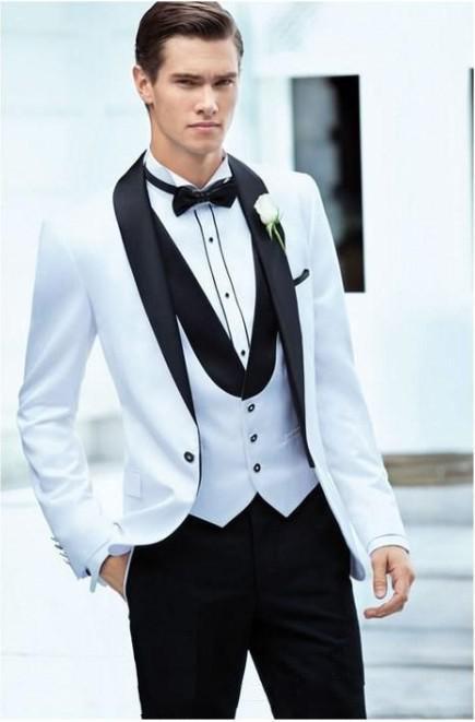 Classic Design Groom Tuxedos Groomsman Mens Wedding Prom Suits Custom Made (Jacket+Pants+Vest+Tie) H:017