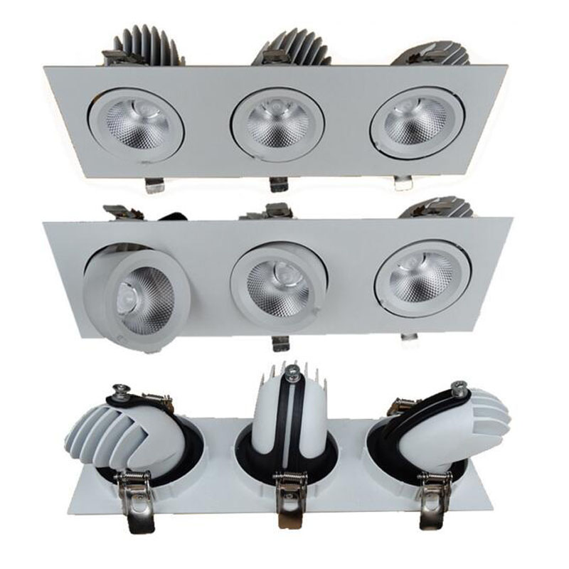 6pcs/lot LED Spotlight 3X12W Square Ceiling Grille Lamp Double Slider COB Lighting 360 degree rotation 36W LED Downlight 4pcs lot double grille spotlight dimmable recessed led downlight cob 2x12w 3x12w dimming led ceiling lamp ac85 265v