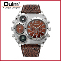 Oulm 1349 Men's Dual Movement Sports Military Watch With Compass & Thermometer Decoration Big Size 5.8cm Diameter