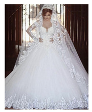 Wedding Dresses 2019 Elegant Bride Ball Gown Lace-up Back With Beautiful Long Veil Sleeves Gowns