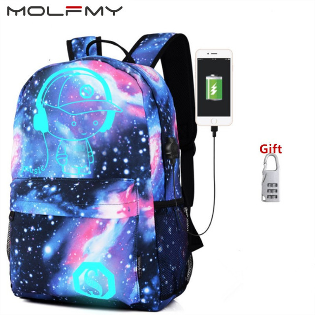 c8a89250b40a Night Star Luminous Backpack Multifunction Unisex Cartoon School Bags  travel Bag Student Rucksack with USB Charger backpack drop