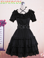 Free shipping! New Arrivals! High Quality! Classic Black Short Sleeves Cotton Cute Lolita One Piece Dress