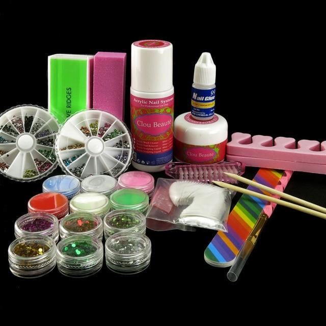 12 Glitter Sheets Rhinestones Acrylic Powder False Toe Separator Wooden Stick Buffer Block 3-Sides N007 Nail Art Kits Set DIY