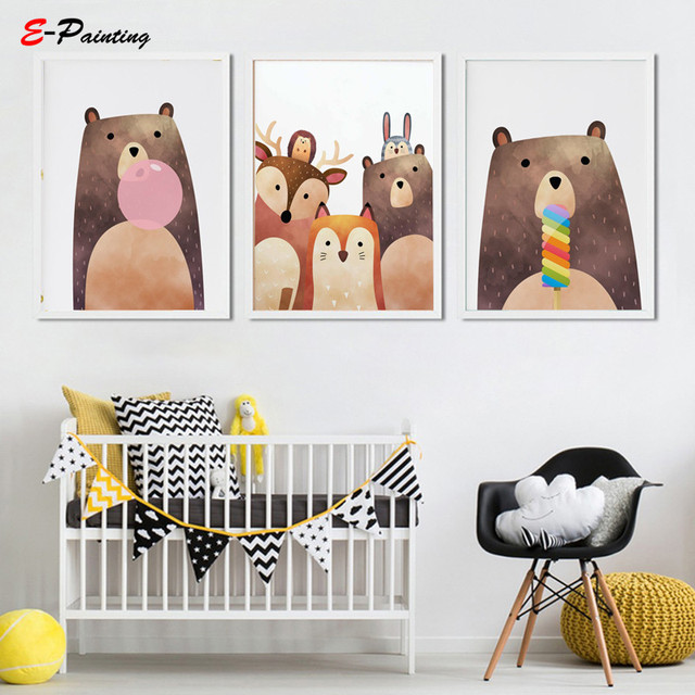 Modern Wall Art Baby Animals Poster Cute Brown Bear Picture Canvas Painting Nursery Decoration Kid Bedroom Decor Christmas Gift