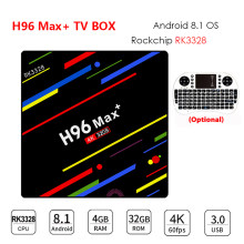Decodificador de dispositivo de TV inteligente H96 MAX Plus, Android 8,1, RK3328, 4 gb, 32 gb/64 gb de ROM, Wifi, 4 k, H.265, 3 gb, 32 gb, Mediaspeler, pk h96 pro