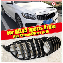 C class W205 GTS Style grille grill ABS Silver Fits For MercedesMB C180 C200 C250 C300 C350 Front Grills Sport with Camera 15-in
