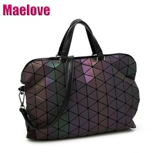 Maelove Luminous Bag 2019 Geometric Lattic Diamond Plaid Handbags Shoulder bag Hologram Laser silver Drop Shipping