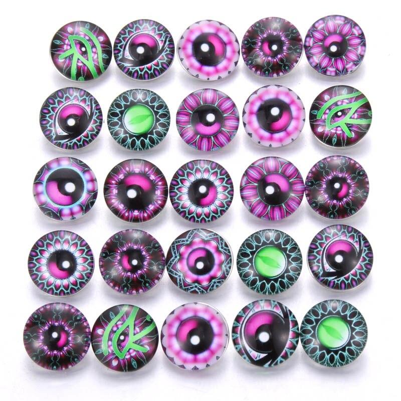 10 шт./лот, смешанные цвета и узор, 18 мм, стеклянные кнопки, ювелирное изделие, граненое стекло, оснастка, подходят, оснастки, серьги, браслет, ювелирное изделие - Окраска металла: AB226
