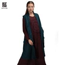 Outline Brand Women Casual Vest In National Trend Autumn Winter Vests Vintage Tassel Outerwear With Women Woolen Vest L154Y002