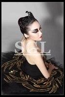 Черный лебедь Балетные костюмы пачка взрослых Черный Профессиональный платье пачка индивидуальный заказ пачки для работы Балетные костюм