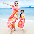 High Quality Bohemian Mother And Daughter Dresses Family Matching Outfits Straped Chiffon Sleeveless Summer Beach Dress AF1668