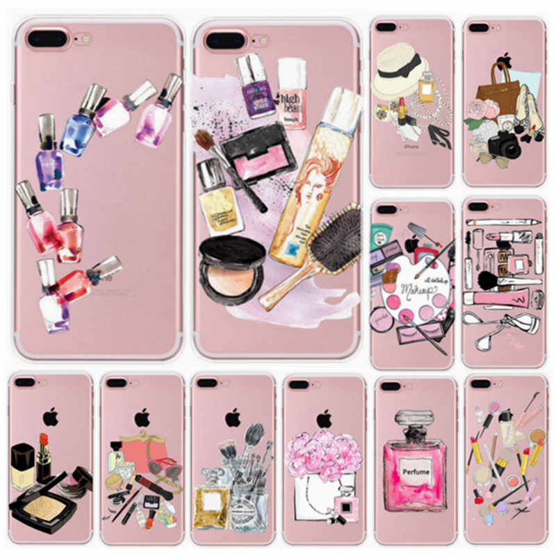 Make up Phone Case For iphone x 6 6s 7 8 plus 5s 5 Slim Clear Cover Capa Perfume Bottle Eyelashe Lipstick Lips Pattern Protector