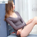 Women's thermal underwear  cashmere underwear  for women wool V- neck short sleeve solid foundation Lingerie Lingerie sexy lace