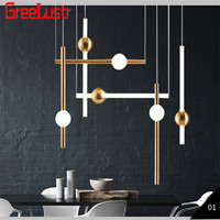 Nordic Metal Glass Orion Tube Led Chandelier Hot Ins Plate Gold Pendant Lamp Hanging Lamp For Dining Room Kitchen Light Fixture