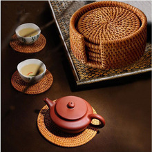 Tea Tools Rattan cup coasters set table place mat vintage round placemats kungfu teapots tea tray Teaware drink coaster