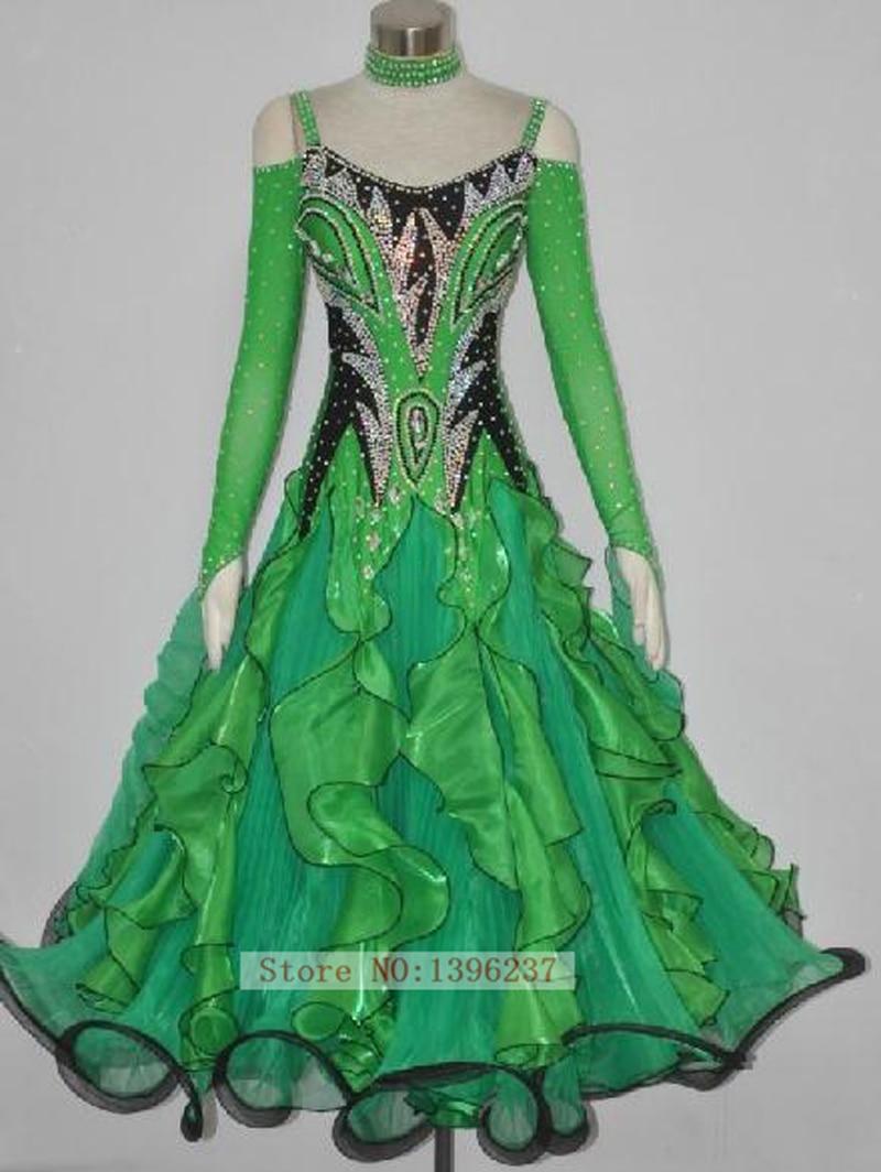 d31ec3510 الأخضر ستاندرد قاعة اللباس سيدة جودة عالية الفالس الفلامنكو فساتين الرقص  تنورة الكبار قاعة الرقص المنافسة