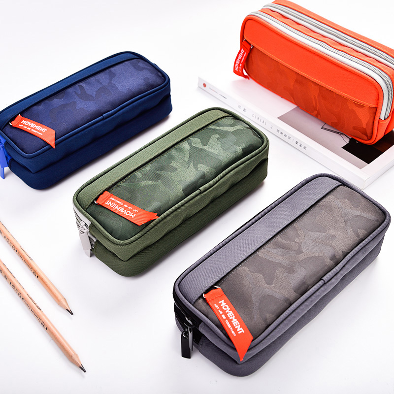 Pencil Case Camouflage Large Capacity Pencilcase Nylon Canvas Double Zipper Pen Bag For Boys Kids Gift School Stationery Supply high quality canvas large capacity solid color school multifunctional boys pencil case pen holder bag stationery penalty 04921