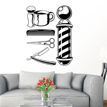 Man Barber Shop Tools Sticker Name Chop Bread Decal Haircut Shavers Posters Vinyl Wall Art Decals Decor Windows Decoration Mural