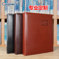Interleaf Type A4 PU Folder Album Leather Cover Business Manual Book with 30piece Transparent Pockets for Collection Book