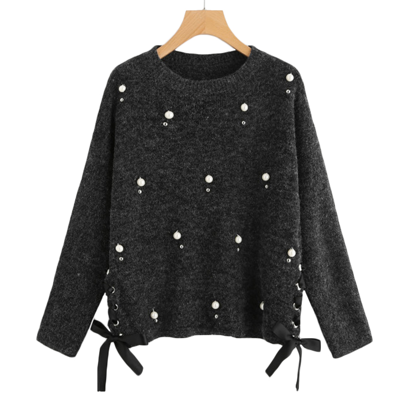 671f702115a97 2019 SHEIN Pearl Beading Lace Up Side Jumper Women Sweaters And ...