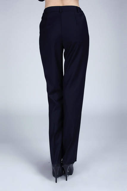 84d8f56dbd1b8 Plus Size S-3XL Dark Blue Women Pants Suits For Work Wear Single Breasted  Business