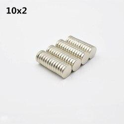 Imán de neodimio de 50 piezas 10x2 tierra rara pequeña fuerte redonda permanente 10*2mm electroimán de nevera NdFeB disco magnético de níquel 3 m