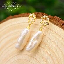 XlentAg Natural Freshwater Long Pear Earrings For Women Round Star 925 Sterling Silver Earring Jewelry Oorbellen GE0689