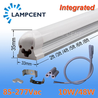 10 25/pak LED Tube Light 2ft 3ft 4ft 5ft 6ft 8ft T8 Integrated Fixture Surface Mounted Lamp Fluorescent Bulb Lighting 85 277V