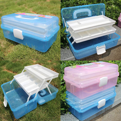 Retail Big Size High Quality Multifunction 3 Layers ABS Tool Case Too Box Storage Box Organizer For Painting Fishing Tool Beauty