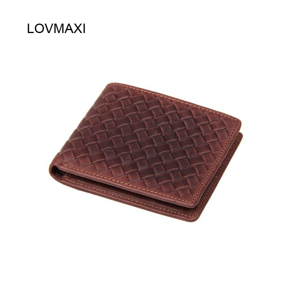 LOVMAXI man leather wallets 100% real cow leather weaving embossed wallets short wallet 2 fold purse Vintage Men short wallets