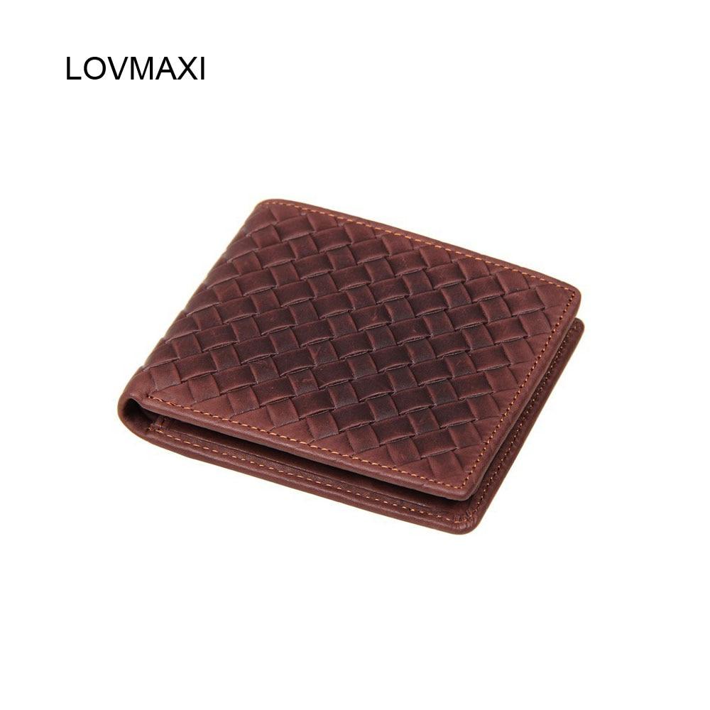 LOVMAXI man läder plånböcker 100% äkta ko läder vävning - Plånböcker