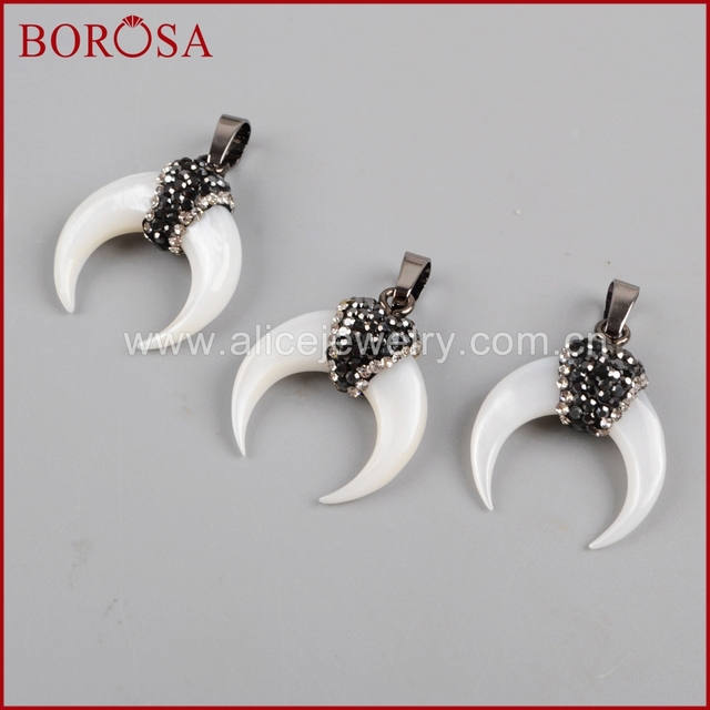 Aliexpress buy borosa wholesale natural white shell moon borosa wholesale natural white shell moon crescent pendant paved zirconhigh quality tiny shell pendant aloadofball Image collections