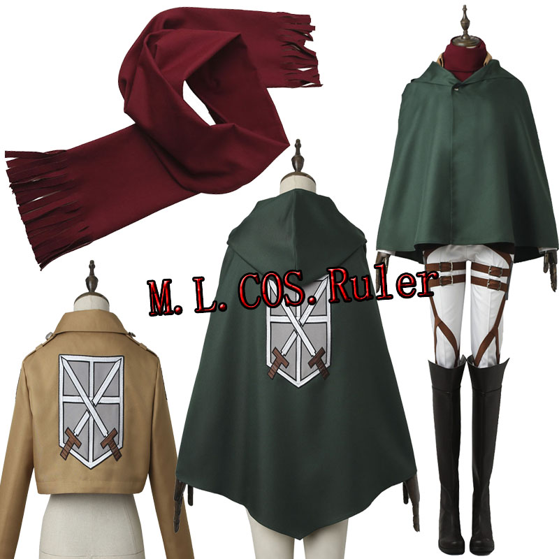 HOT Anime COS Attack on Titan Mikasa Ackerman Cosplay Costume Shingeki no Kyojin Clothes Training Corps Battle Halloween