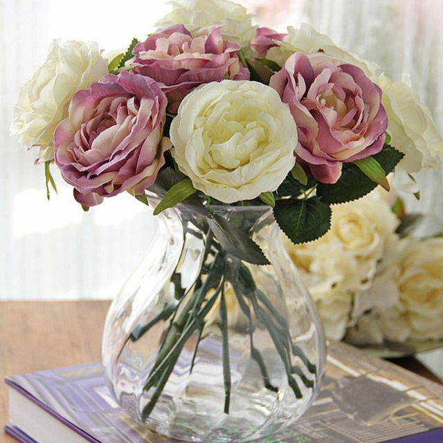 Fashion Wedding Supplies Core Artificial Rose Flower Vividly DIY Home Decoration Flowers For Birthday Party Festival HG9