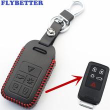 FLYBETTER prawdziwej skóry 5 przycisk dostęp bezkluczykowy inteligentne etui na klucz pokrywa dla Volvo S60 S80 V60 XC60 XC70 S60L V40 Car Styling L2005 tanie tanio Górna Warstwa Skóry