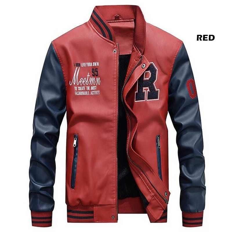 男性野球ジャケット刺繍革 Pu コートスリムフィットカレッジフリース高級パイロットジャケット男性のスタンド襟トップジャケットコート